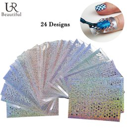 Wholesale Nail Stencils Stickers - Wholesale- 24Sheets Laser Irregular Hollow Nail Art Template Stencil Stickers Vinyls Image Polish Design Guide Manicure Tools STZK01-24