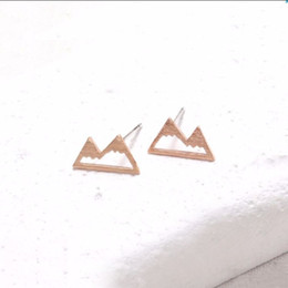 Wholesale Smallest Stud Earrings - Wholesale Fashion Snow Mountain Earrings for Women Unique Earings Nature Inspired Small Eae Studs Gift For Mom EFE018