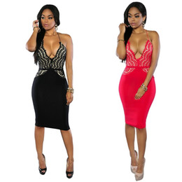 Wholesale Red Lace Camisole - 2016 Heat Sell European Sexy Sleeveless Camisole Nightclub Dress New Pattern