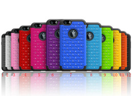 """Wholesale Studded Iphone Case Wholesale - DHL Ship Lot Luxurious Sparkly Diamond Studded Bling Gem Rhinestone Hybrid Cell Phone Case Cover for iPhone 6 4.7"""" H087"""