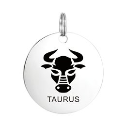 Wholesale Stamped Letters Numbers - Hand Stamped Stainless Steel Silver Zodiac TAURUS Pendant Crafting Charm Findings for Necklace Jewelry Birthday Gift