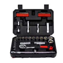 Wholesale Tool Bit Brushes - Professional Quality 46pcs Socket Set Car Repair Tool Ratchet Set Torque Wrench Combination Bit a set of keys Chrome Vanadium 20170107# 2017