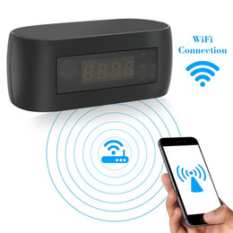 Wholesale Spy Clock 32gb - 32GB 1080P WiFi Hidden Camera Alarm Clock Nanny Wireless Security Surveillance Spy Cam Video Recorder With Motion Detection Night Vision