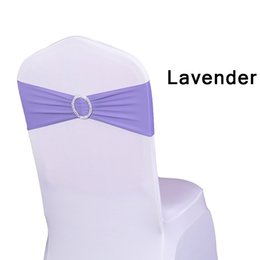 Wholesale Sashes Rings - Chair Sash Bands Spandex 15X35cm Purple Stretch Lycra Chair Cover Sashes Bows with Diamond Ring for Weddings