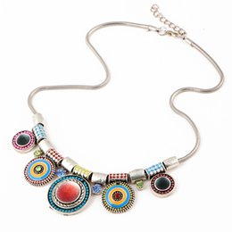 Wholesale Wholesale Necklace Drop Rhinestone Retro - HZS Ethnic Bohemia Gothic Retro Style Drops of Enamel Colorful Necklace Factory Direct Wholesale Prices for Women Girls' Gift Free Shipping