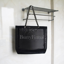 Wholesale Shoulder Tote Shopping Bag - famous brand black mesh shoulder bag net luxury handbag beauty clutch bag designer tote shopping beach purse boutique VIP gift wholesale