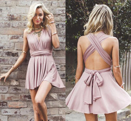 Wholesale Pearls Cocktail Dresses - 2018 Sexy V-neck Criss-corss Back Short Homecoming Dresses Summer Beach Chiffon Mini Formal Gowns Cocktail Party Dresses BA6865