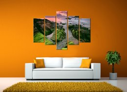 Wholesale Large Cheap Canvas For Painting - Morden Large Home Decor Painting 5 Piece Canvas Art Beach Wall Decoration Pictures Cheap Modern Art Paintings for the Home