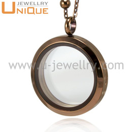 Wholesale Chocolate Floating Charm Locket - 30mm Chocolate color pendant Stainless steel brown floating charms locket with Tempered glass magnet and twist open for choosing