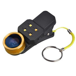 Wholesale Mini Fish Eye - Mini 4 in 1 Universal Clip Fish Eye Wide Angle 15 Macro Lens LED Fill light 198 Degree Fisheye Glass Camera Lens For iPhone Samsung