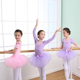 Tutu de ballet azul de las niñas online-Bebé caliente niñas baile traje de primavera y otoño de manga larga / manga corta falda de ballet niños baile y ocio ropa niños traje TUTÚ falda