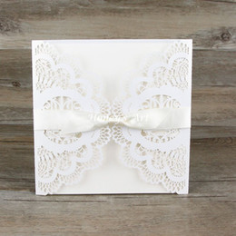 Wholesale Diy Envelope Card - Wholesale- 50pcs lot Wedding Invitations Laser Floral Paper Lace With Envelope Elegant Peony Wedding Invitation DIY Personalized Cards