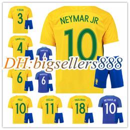 Wholesale Best David - best quality 16 17 Brazil home yellow soccer jersey Kits 2016 2017 NEYMAR JR PELE OSCAR D.COSTA DAVID LUIZ Brazil away blue football shirts