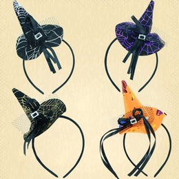 Wholesale Halloween Headdress - Mini witch hat headband cobweb dots veil cap Easter halloween fancy dress costume accessory Party headdress scary presents WD131