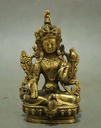 Wholesale Buddha Brass Statue - Folk Tibet Brass Buddhism Lotus Green Tara Bodhisattva Kwan-Yin Buddha Statue