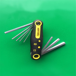 Wholesale Hex Wrench Spanner - Folding Six Angle Spanner Hexagon Hex Torx Allen Key Wrench Set Tool Kit