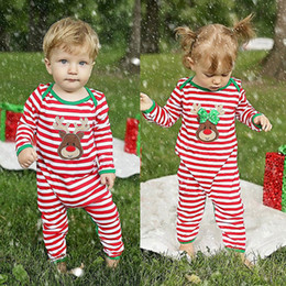 Wholesale Boys Red Outfits - Christmas Baby Girl Boys Clothes Newborn Toddler Romper Suit Bebes Striped Onesies Pajamas Kid Christmas Jumpsuit Xmas Outfit Boutique