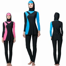 Wholesale Pink Suits For Women Cheap - 2017 NEW Cheap Conservative Modest Swimsuits For Women Solid Islamic Turkish Muslim Swimsuit Indonesia Abaya Swimwear Female Bathin suit