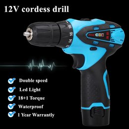 Wholesale 12v Cordless Electric Drill - 12V Double Speed Waterproof Rechargeable Electric Drill Cordless drill portable drill Screwdriver Tool Set+1*Battery+1*Charger