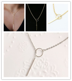 Wholesale Selling Stainless Steel Necklace Chain - Wholesale- Hot-selling fashion bar simple necklace Exquisite Beautiful Simple Golden Bar Lariat Necklace Gift
