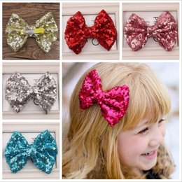Wholesale Metal Barrette Hair Clips - Girl hairpins Hair Bow Barrettes Kids Paillette Hair Clips Sequin Big Bows Clip With Metal Teeth Clip Boutique Bows Hair Accessories KFJ34