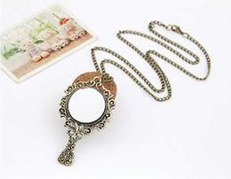 Wholesale Mirror Necklaces - Wholesale- New Retro Magic Bronze Vintage Mirror Carve Pattern Chain Necklace Pendant Lady
