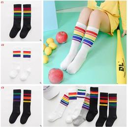 Wholesale Kids Colorful Cotton Socks - Korea Colorful Striped Baby Socks Baby Boy Girl Kids Sock Cotton Knee High Socks Children Middle Socks Footwear Knitted Striped Leg Warmers