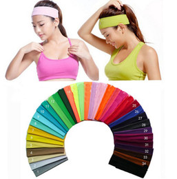 Wholesale candy headbands - New 23 Candy colors Cotton Sports Headband for Men Women Yoga Run Elastic Cotton rope Absorb sweat head band