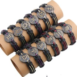Wholesale Black Cuff Bracelet Leather - 2017 wholesale 12pcs per lot trendy handmade vintage the signs of the zodiac cuff leather bracelet