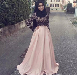 Wholesale Cheap Hijab - 2017 Pink Lace Muslim Mother of the Bride Formal Gowns Plus Size With Long Sleeves Arabic Women Cheap Modest Hijab Evening Dresses
