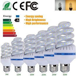 Wholesale E27 5w Bulb - Super Bright Spiral LED Corn Light Bulbs SMD2835 E27 B22 LED Bulb lamp 360degree Led Lighting 5W 7W 9W 12W 16W 20W 24W 30W AC85-265V