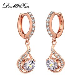 Wholesale Unique Earrings For Women - CZ Diamond Drop Dangle Earrings Unique Silver Platinum Rose Gold Plated Crystal Cubic Zircon Fashion Party Wedding Jewelry For Women DFE685