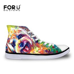 Wholesale Shoes For Teenagers - Wholesale-Yorkshire Terrier Dog Painting Women Casual Shoes for Teenager Girls Lace-Up Ankle Flats Ladies Walking Shoes High-top Shoes