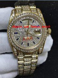 Wholesale 36mm Automatic Watch - Luxury Wristwatch 18K Mens Yellow Gold 36MM Automatic Mechanical Movement Diamond Watch Men Watches Top Quality New Arrival