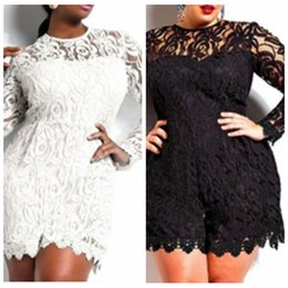 Wholesale playsuit dresses - 2017 Sexy Lace Clubwear Bodycon Party Playsuit Jumpsuit Romper Dress Plus Size Long Sleeve Large Size Lace 3XL Jumpsuit