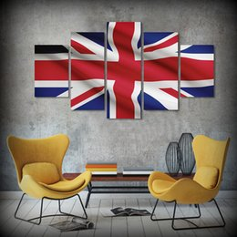 Wholesale Texture Canvas Oil Painting - 5 Pcs Set Framed HD Printed British United Kingdom Flag Picture Feng Shui Art Botanical Wall Textures Modern Canvas Paintings