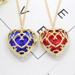 Wholesale Legend Zelda Jewelry - Jewelry Legend of Zelda necklace blue and red color pendant heart of lovers Pair of Necklace Women Men gift
