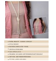 Wholesale Long Beaded Necklace Designs - Fashion White Artificial Chain Long Multilayer Pearl Necklace Female Design Long Rhinestone Necklace Womens Jewellery Taki
