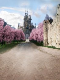 Wholesale Castle Backdrops - Outdoor Scenic Photography Backdrop Vintage Castle Spring Pink Cherry Blossom Tree Road Digital Photo Shooting Background for Studio