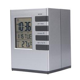 Wholesale High Temperature Alarm - Wholesale-Fashion Creative Smart Square Clock LED Snooze Alarm Calendar Temperature Happy Gifts High Quality Home Decor