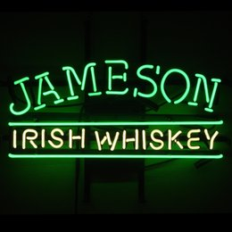 Wholesale Whiskey Signs - Fashion New Handcraft Jameson Irish Whiskey Real Glass Beer Bar Pub Display neon sign 19x15!!!Best Offer!