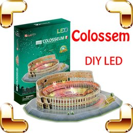 Wholesale Construction Leads - New Year Gift Colossem 3D Puzzle Model Building Construction DIY Toys LED Decoration Special Education Learning Present Friend
