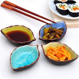 Wholesale Pottery Plants - Creative Japanese Style Leave Shape Porcelain Mini Size Plate for Vinegar Sause Pepper Kitchen Multifunctional Relish Dish