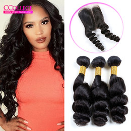 Wholesale Human Hair For Sale Virgin - CCollege Hair Company 8A Grade Malaysian Virgin Hair loose Wave 3 Bundles With Lace Closure 8A Grade Virgin Unprocessed Human Hair For Sales