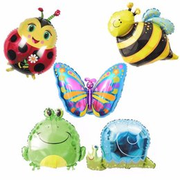 Wholesale Frog Bee - 50pcs lot insect snails frog balloon bee butterfly Ladybug balloon for kindergarten decoration 5 type children gift wholesale