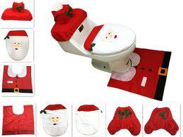 Wholesale Seat Cases - 3pcs set Cheap Merry Christmas Santa Ornament Snowman Toilet Seat Cover Toilet lid New Year Xmas Christmas Rug Bathroom Decoration Wholesale