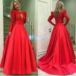 Wholesale Oriental Pictures - Princess Long Red Prom Dresses Sale Long Sleeve Satin Oriental Evening Party Gowns Dress Party Gown For Women