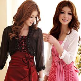 Wholesale Small Bolero - Wholesale- F~3XL New Women Sexy Stylish Large Big Size Cropped Rose Sheer Chiffon Bolero Short Small Cardigan Jackets Party Evening Coats