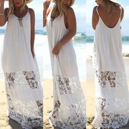 Wholesale Sexy Maxi Dress Night - Sexy Women Long Lace Summer Beach Bohemia Boho Maxi Sundress Dresses Sleeveless Party Strapless Dress White Color