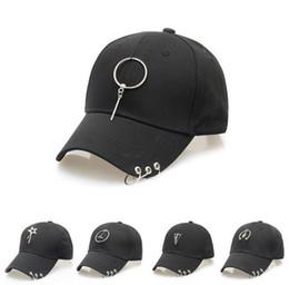 Wholesale Peak Metal - Hip Hop Snapback Baseball Caps Men Women Peaked Cap Fashion Metal Ring Hats Casual Sport Hats Adjustable High Quaity A001